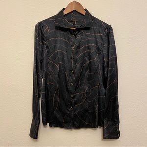 Rachel Roy Signature Silk Button Down Blouse 10